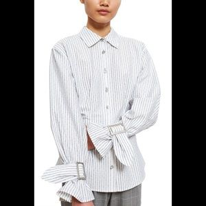 Opening ceremony OC jacquard belted cuff shirt